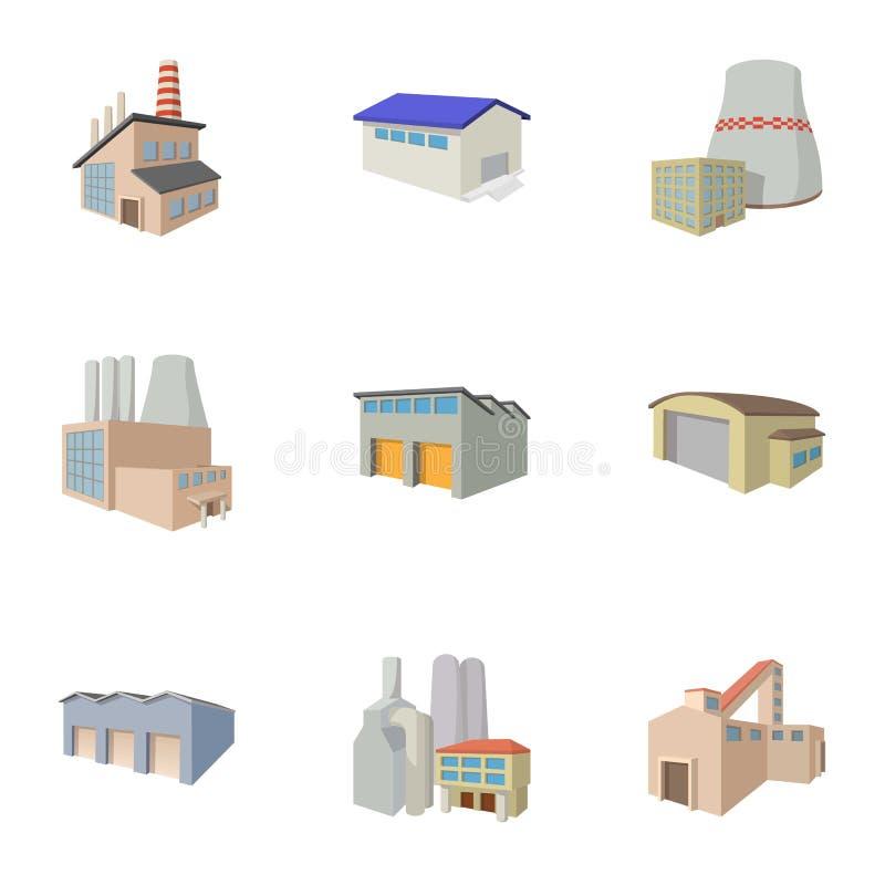 Ícones ajustados, estilo da planta de produção dos desenhos animados ilustração stock