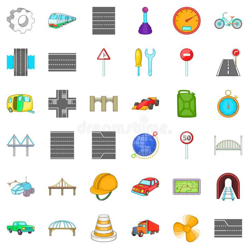 Ícones ajustados, estilo da ponte do trilho dos desenhos animados ilustração stock