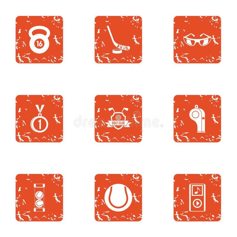 Ícones ajustados, estilo da prática do grunge ilustração royalty free