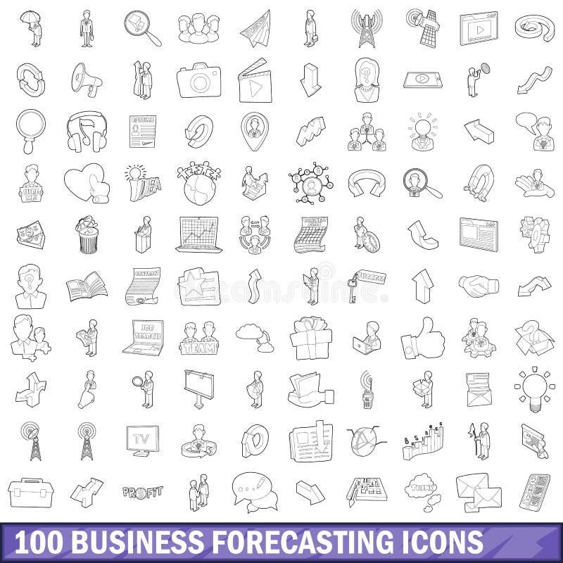 100 ícones ajustados, estilo da previsão de negócio do esboço ilustração stock