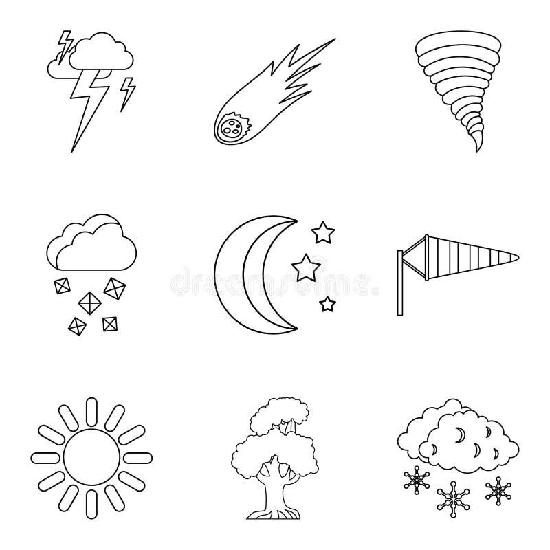 Ícones ajustados, estilo da previsão do esboço ilustração do vetor