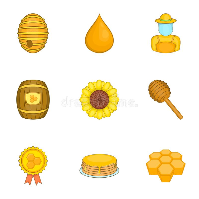 Download Ícones Ajustados, Estilo Da Produção Do Mel Dos Desenhos Animados Ilustração do Vetor - Ilustração de imagem, medalha: 80101417
