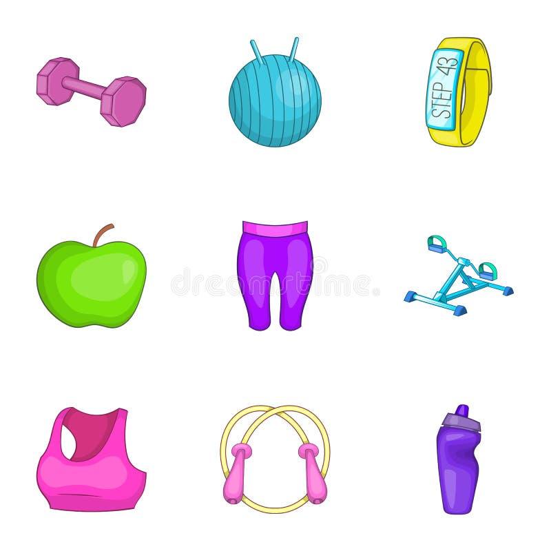 Download Ícones Ajustados, Estilo Da Saúde Dos Desenhos Animados Ilustração do Vetor - Ilustração de lifestyle, ajuste: 80101339