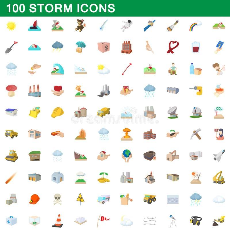 100 ícones ajustados, estilo da tempestade dos desenhos animados ilustração stock
