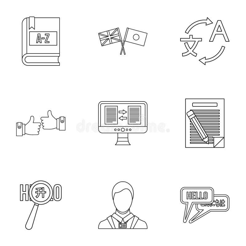 Ícones ajustados, estilo da tradução do esboço ilustração royalty free