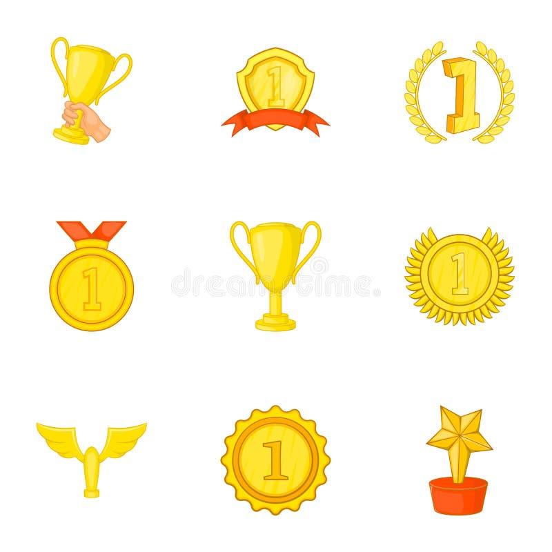 Download Ícones Ajustados, Estilo Da Vitória Dos Desenhos Animados Ilustração do Vetor - Ilustração de recompensa, championship: 80100664