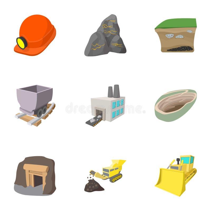 Ícones ajustados, estilo das atividades da mineração dos desenhos animados ilustração stock