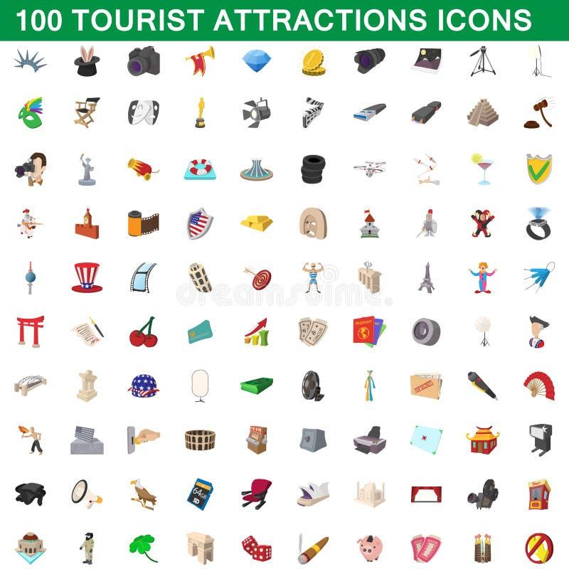 100 ícones ajustados, estilo das atrações turísticas dos desenhos animados ilustração royalty free