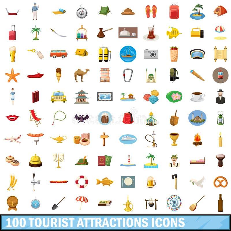 100 ícones ajustados, estilo das atrações turísticas dos desenhos animados ilustração stock