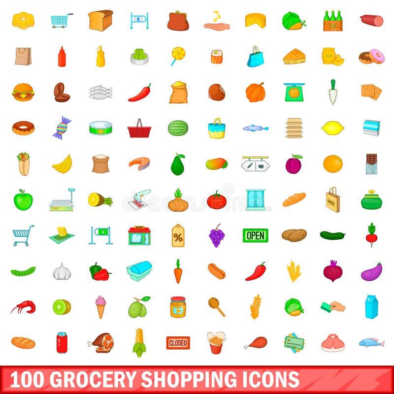 100 ícones ajustados, estilo das compras na mercearia dos desenhos animados ilustração royalty free