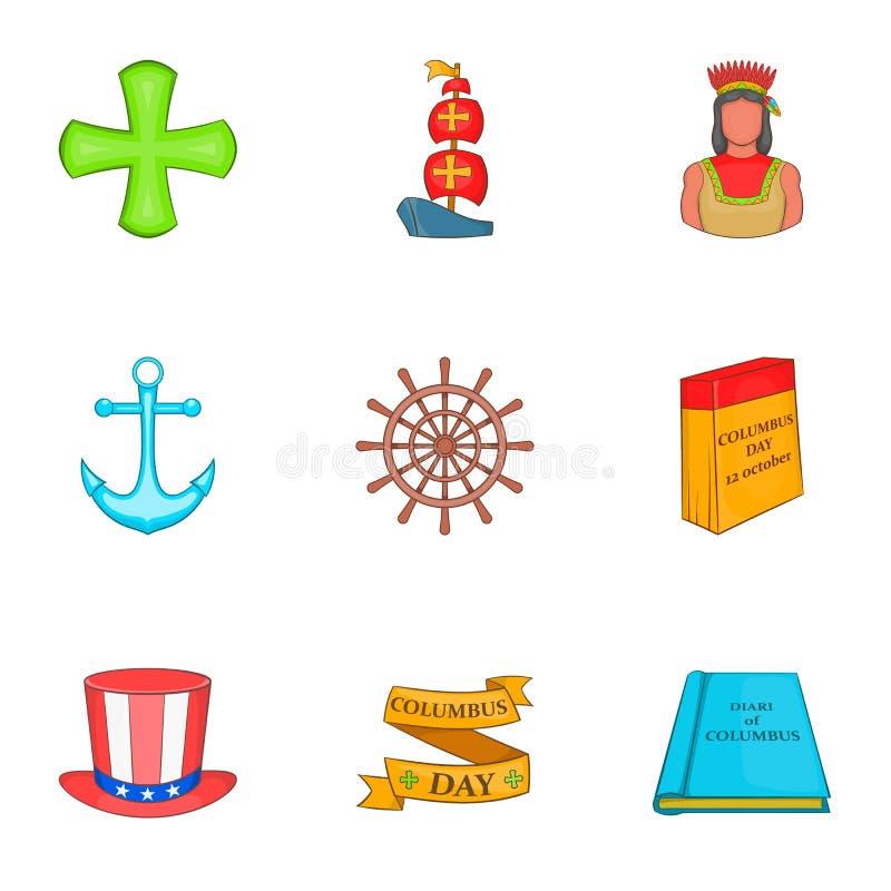 Download Ícones Ajustados, Estilo De Columbus Day Dos Desenhos Animados Ilustração do Vetor - Ilustração de cartoon, feliz: 80100995
