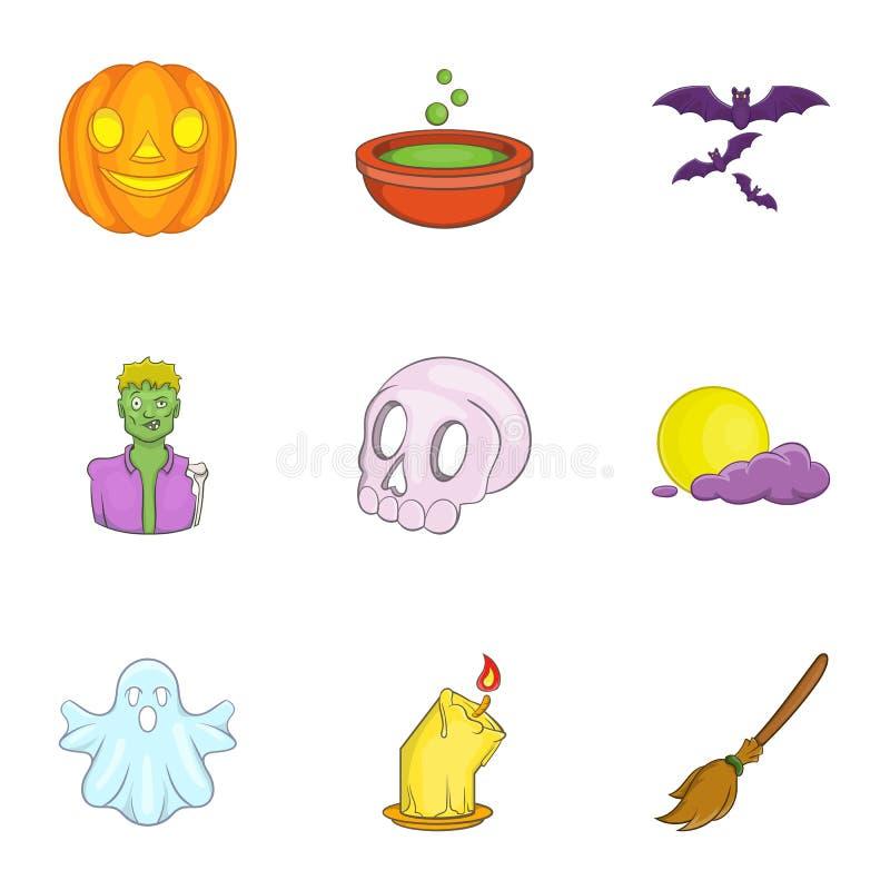 Download Ícones Ajustados, Estilo De Dia Das Bruxas Dos Desenhos Animados Ilustração do Vetor - Ilustração de sumário, bastão: 80101451
