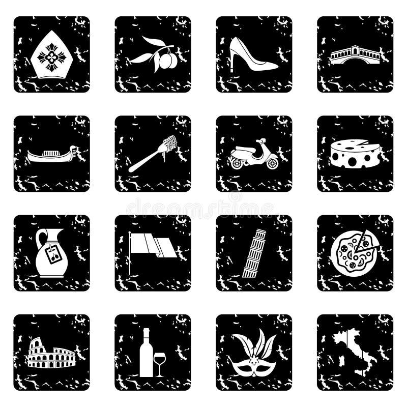 Ícones ajustados, estilo de Itália do grunge ilustração stock