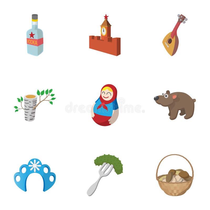 Ícones ajustados, estilo de Rússia do país dos desenhos animados ilustração do vetor