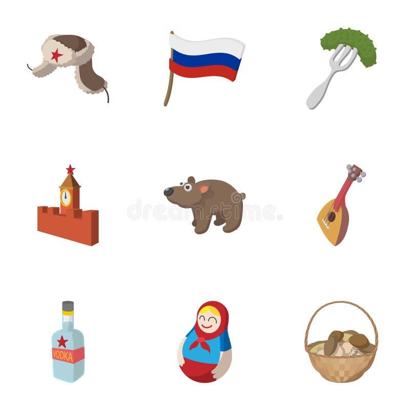 Ícones ajustados, estilo de Rússia dos desenhos animados ilustração royalty free