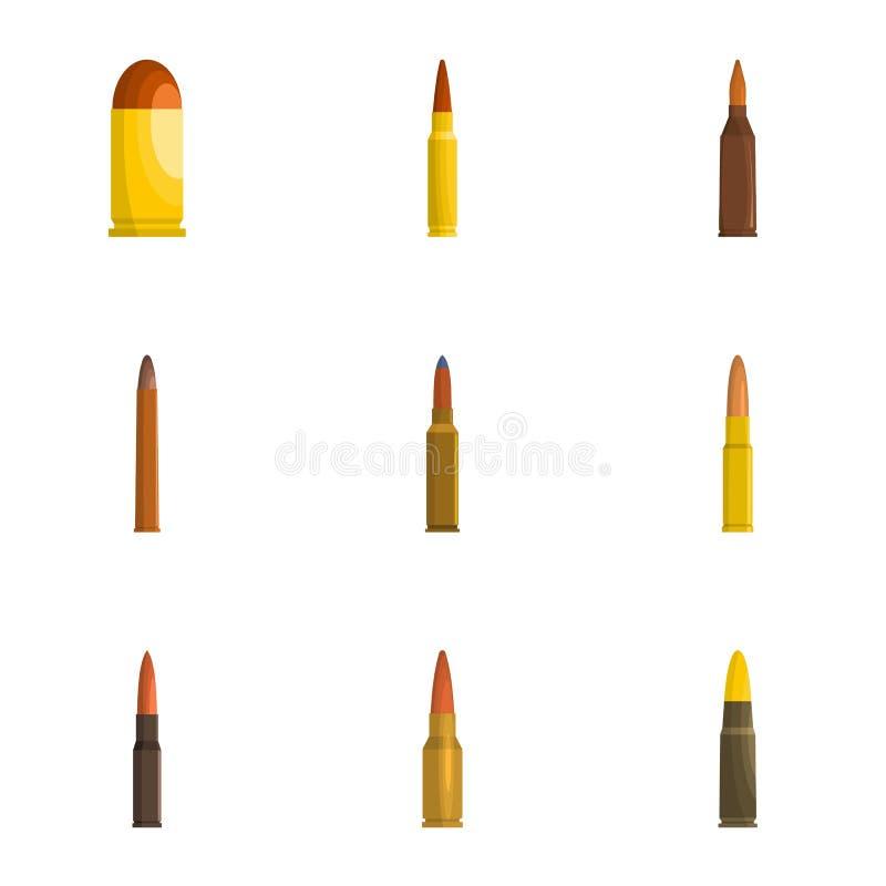 Ícones ajustados, estilo de Shell dos desenhos animados ilustração do vetor