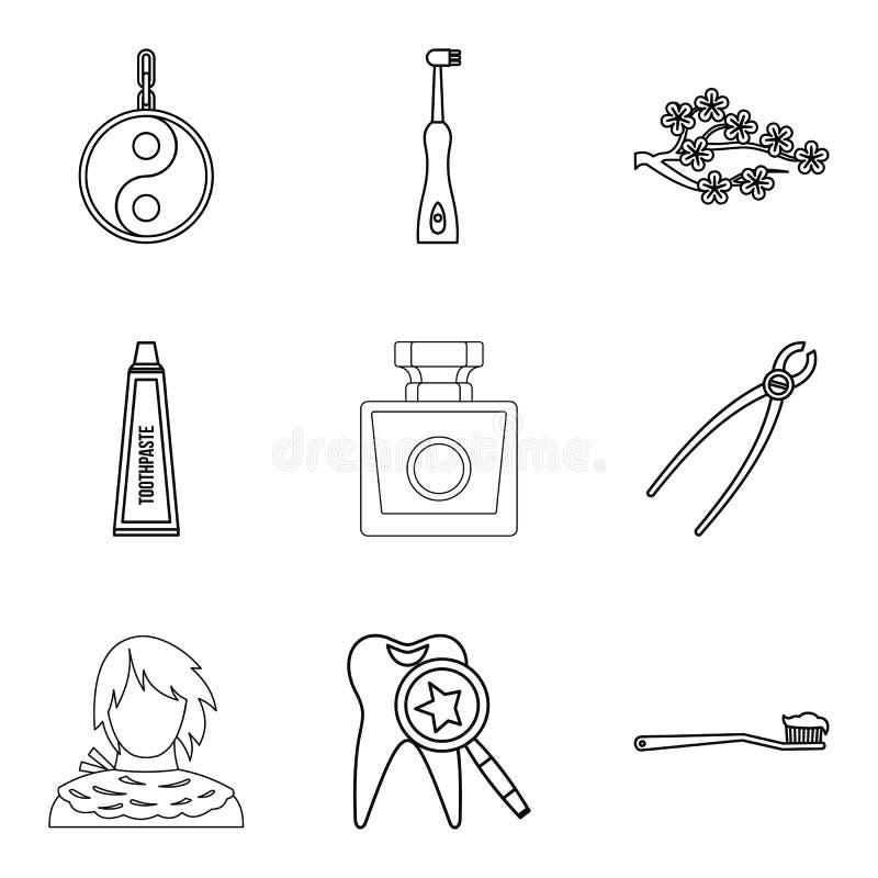 Ícones ajustados, estilo do óleo do aroma do esboço ilustração stock