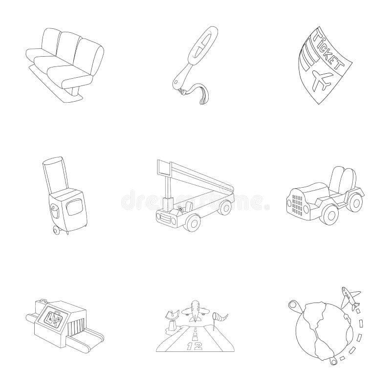 Ícones ajustados, estilo do aeroporto do esboço ilustração royalty free