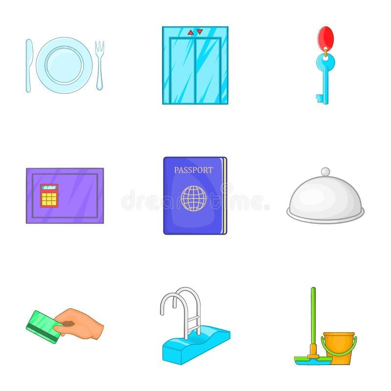 Download Ícones Ajustados, Estilo Do Alojamento Em Hotel Dos Desenhos Animados Ilustração do Vetor - Ilustração de recepção, passport: 80101656