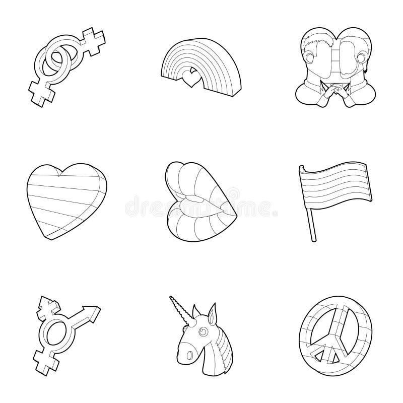 ícones ajustados, estilo do amor do Mesmo-sexo do esboço ilustração stock