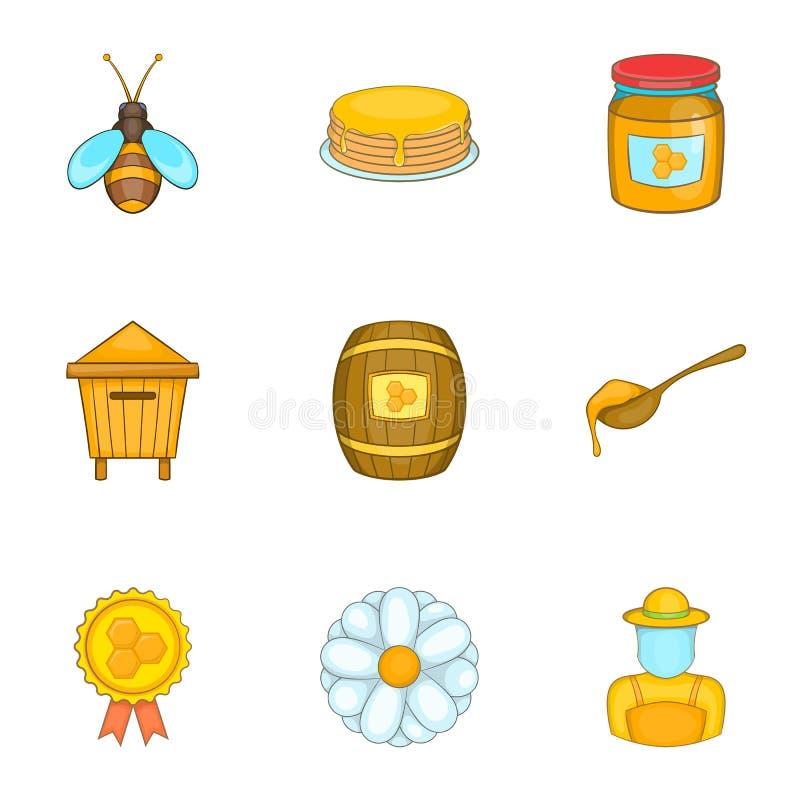 Download Ícones Ajustados, Estilo Do Apiário Dos Desenhos Animados Ilustração do Vetor - Ilustração de frasco, daisy: 80101262