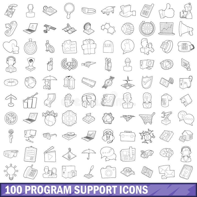 100 ícones ajustados, estilo do apoio do programa do esboço ilustração royalty free
