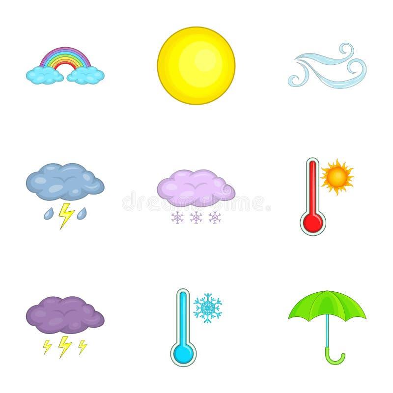 Ícones ajustados, estilo do app da previsão dos desenhos animados ilustração do vetor