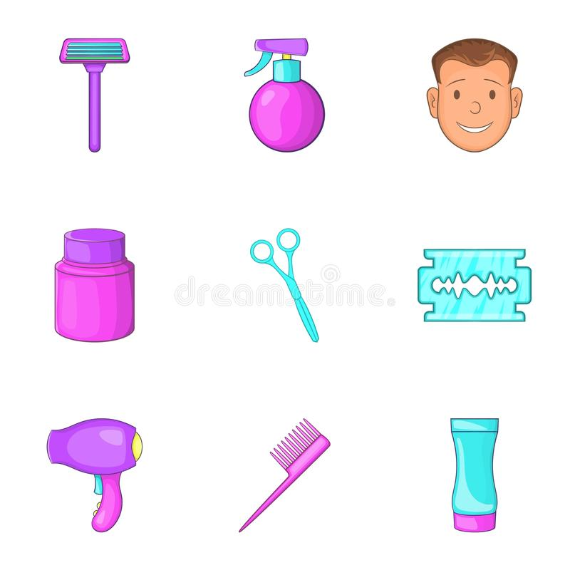 Download Ícones Ajustados, Estilo Do Barbeiro Dos Desenhos Animados Ilustração do Vetor - Ilustração de negócio, forma: 80101904