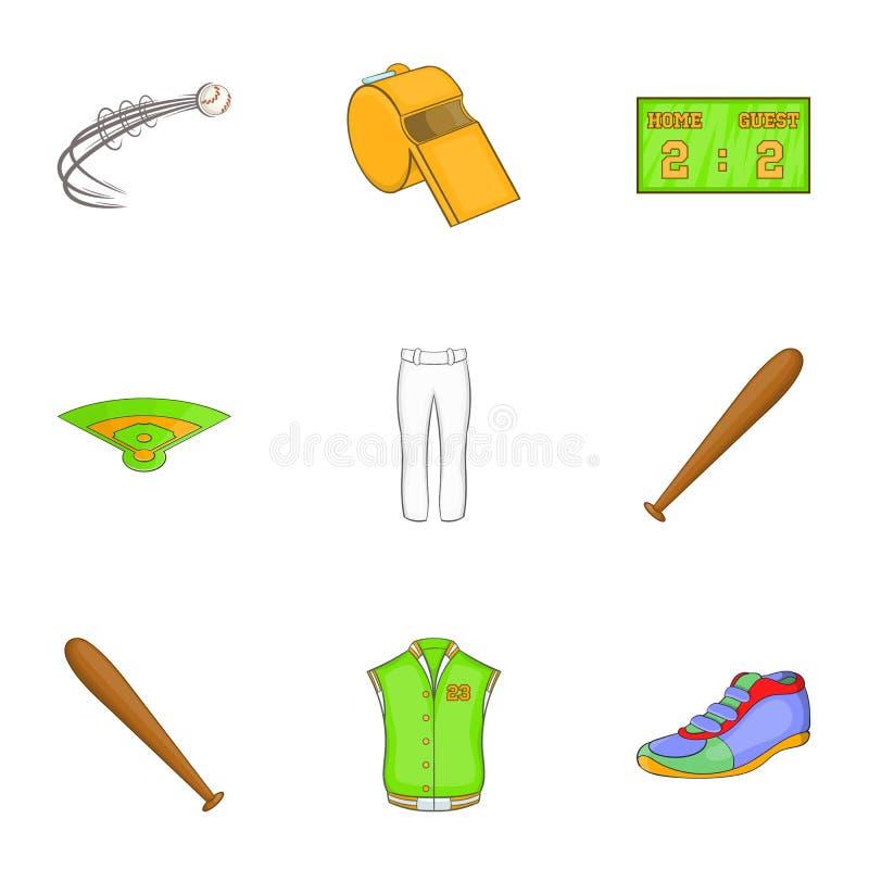 Download Ícones Ajustados, Estilo Do Basebol Dos Desenhos Animados Ilustração do Vetor - Ilustração de competição, atividade: 80102175