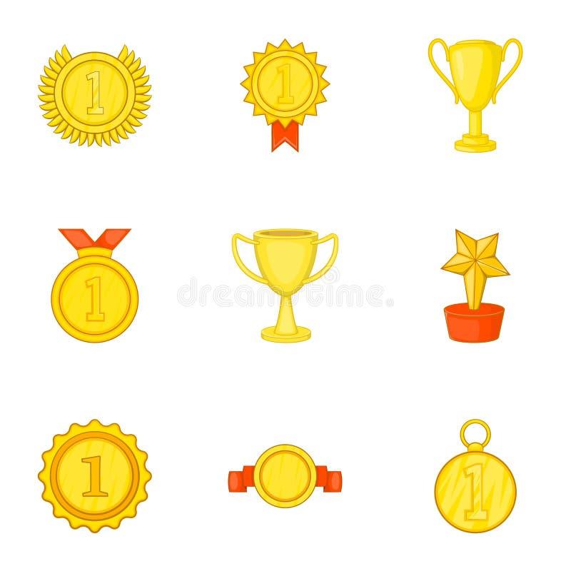 Download Ícones Ajustados, Estilo Do Campeonato Dos Desenhos Animados Ilustração do Vetor - Ilustração de medalha, sinal: 80100656