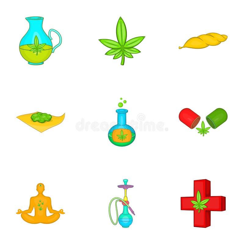 Download Ícones Ajustados, Estilo Do Cannabis Dos Desenhos Animados Ilustração do Vetor - Ilustração de addiction, saúde: 80101036