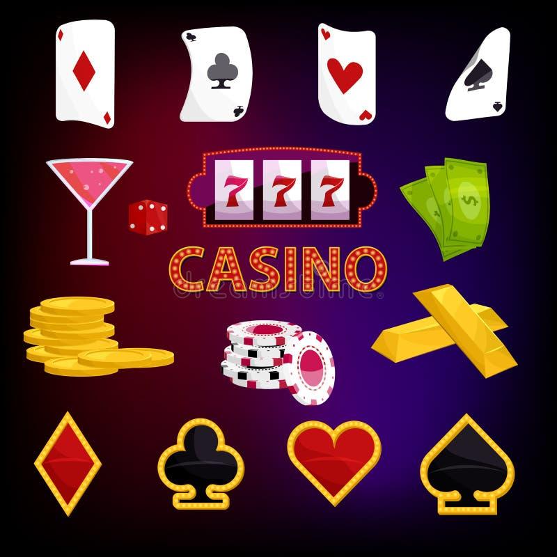 Ícones ajustados, estilo do casino dos desenhos animados ilustração royalty free