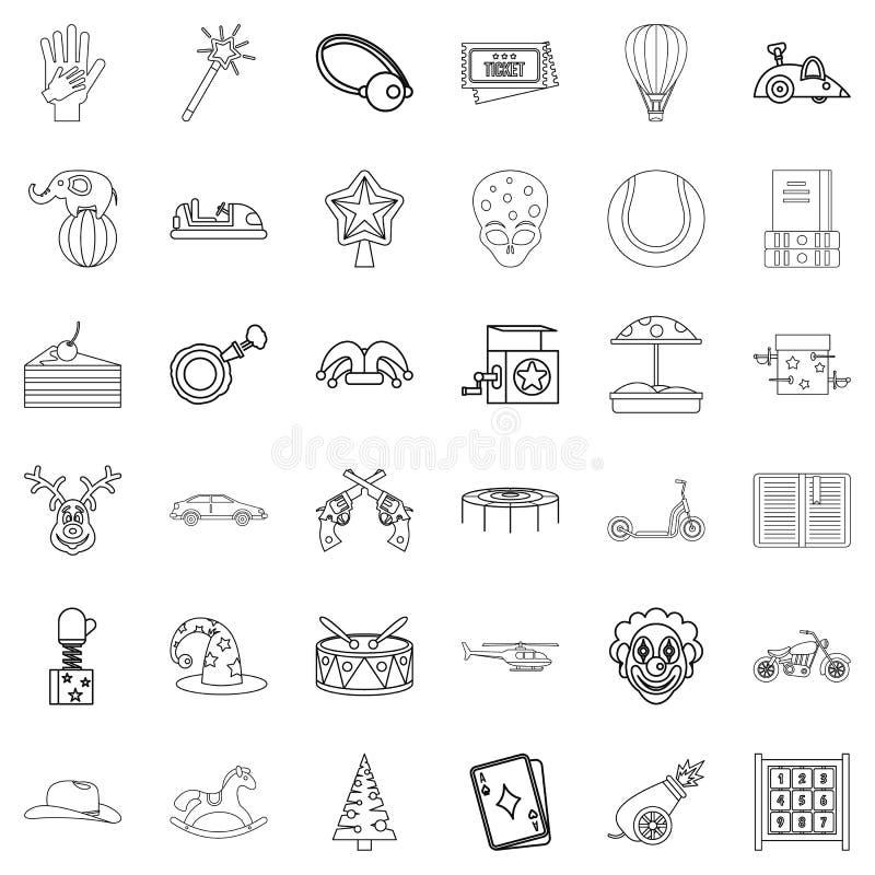 Ícones ajustados, estilo do conto do esboço ilustração stock