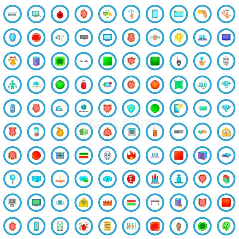 100 ícones ajustados, estilo do crime do cyber dos desenhos animados ilustração do vetor
