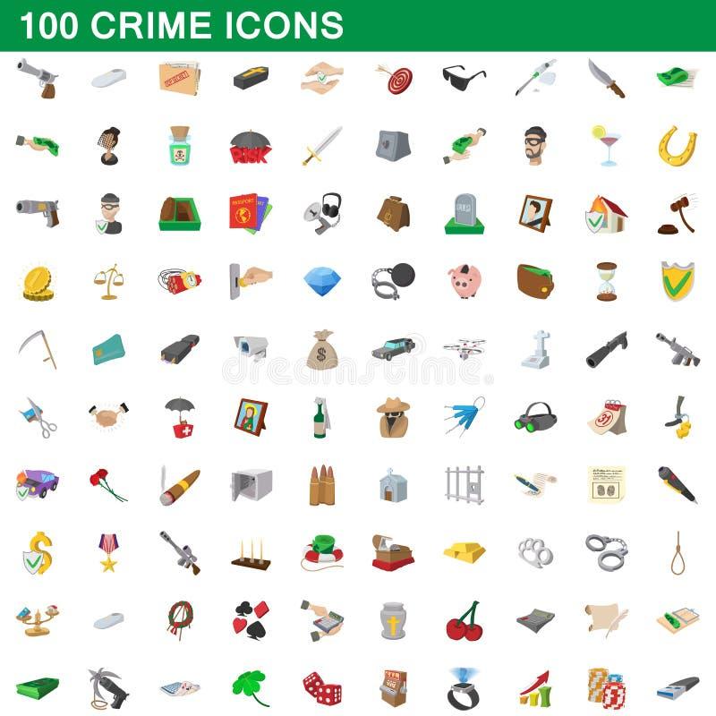 100 ícones ajustados, estilo do crime dos desenhos animados ilustração do vetor