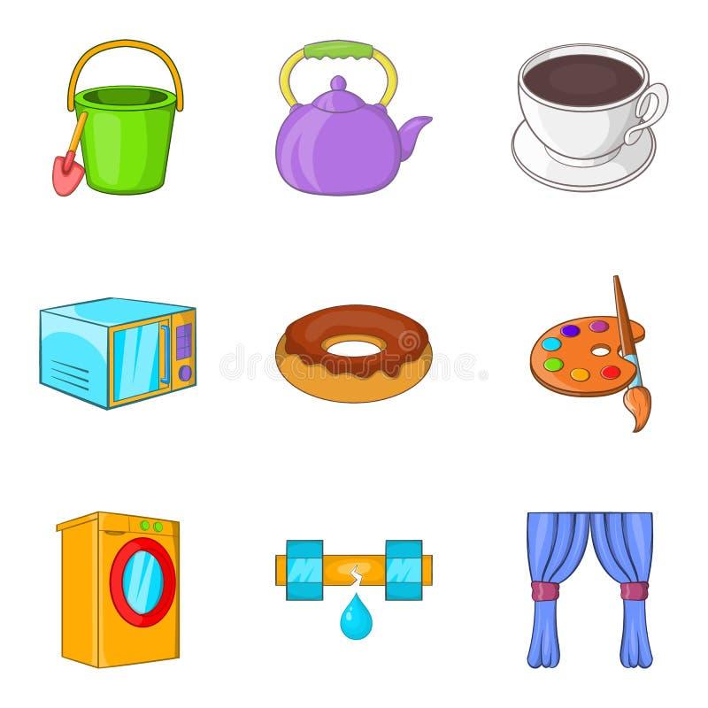 Ícones ajustados, estilo do deleite das crianças dos desenhos animados ilustração royalty free