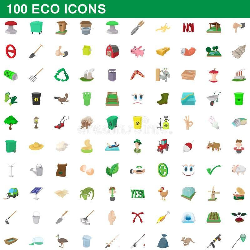 100 ícones ajustados, estilo do eco dos desenhos animados ilustração stock