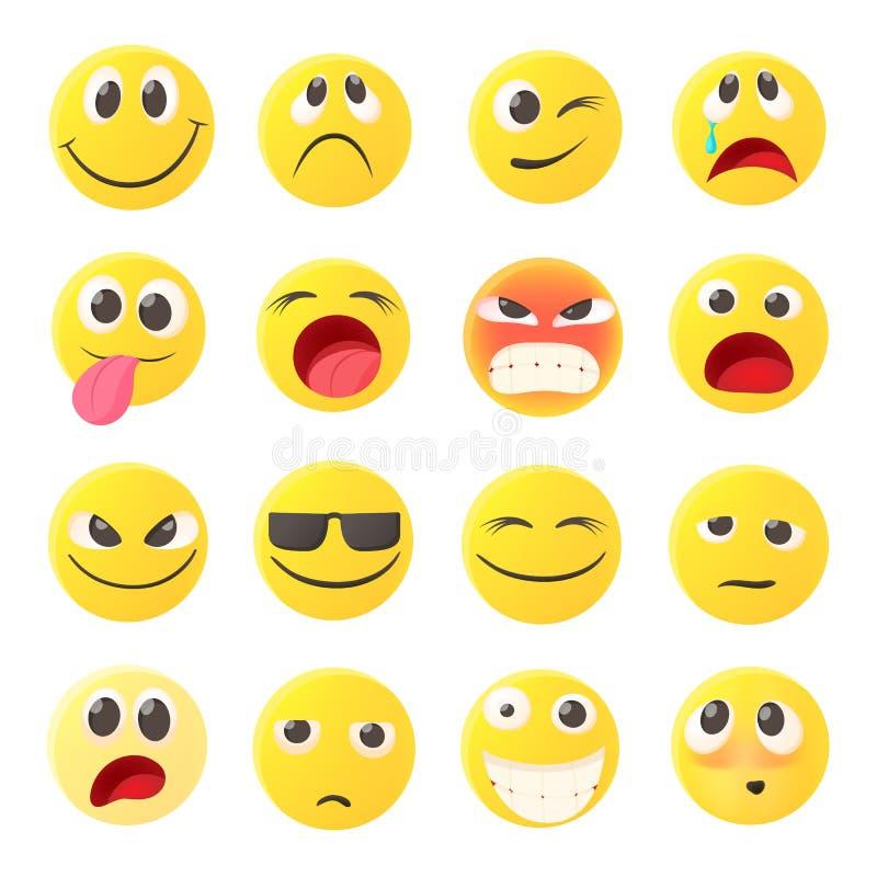 Ícones ajustados, estilo do Emoticon dos desenhos animados ilustração stock