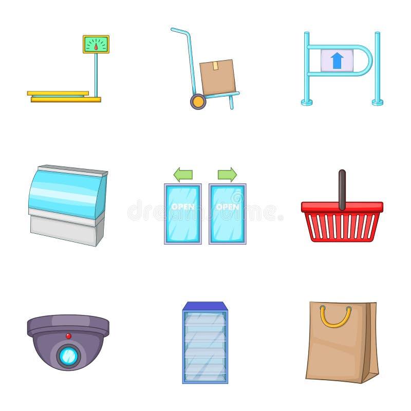 Ícones ajustados, estilo do equipamento da loja dos desenhos animados ilustração royalty free