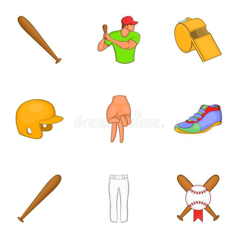 Download Ícones Ajustados, Estilo Do Esporte Do Basebol Dos Desenhos Animados Ilustração do Vetor - Ilustração de base, campo: 80100606