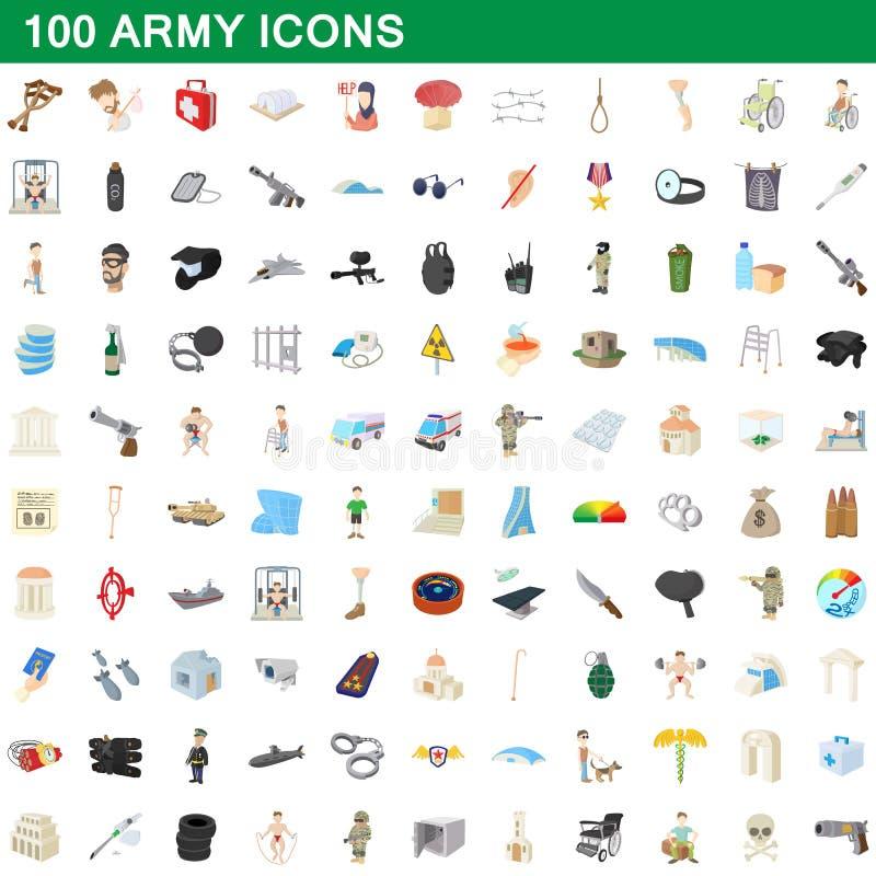 100 ícones ajustados, estilo do exército dos desenhos animados ilustração do vetor