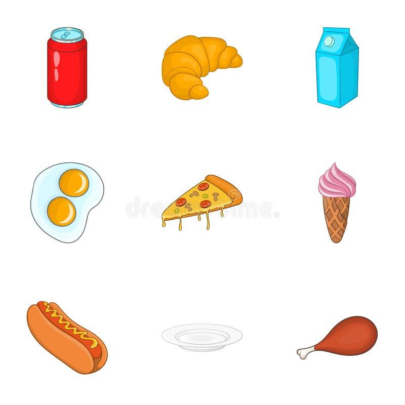 Download Ícones Ajustados, Estilo Do Fast Food Dos Desenhos Animados Ilustração do Vetor - Ilustração de suco, alimento: 80101681