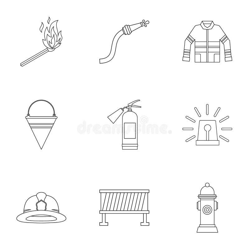 Ícones ajustados, estilo do fogo do esboço ilustração do vetor