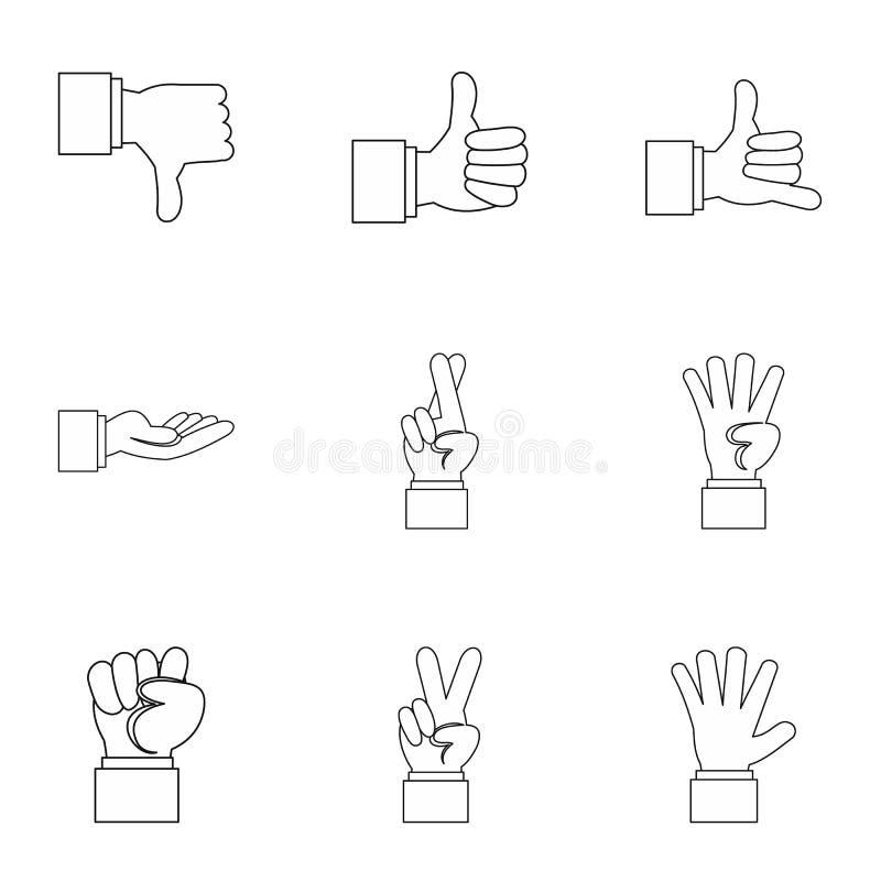 Ícones ajustados, estilo do gesto do esboço ilustração stock