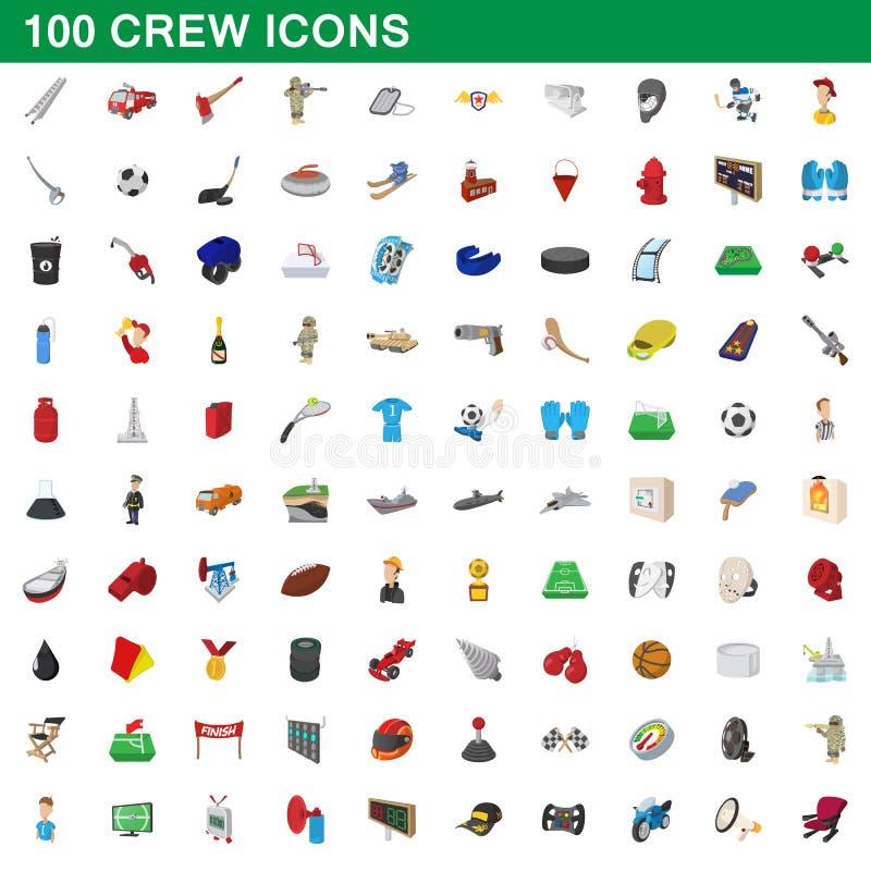100 ícones ajustados, estilo do grupo dos desenhos animados ilustração do vetor