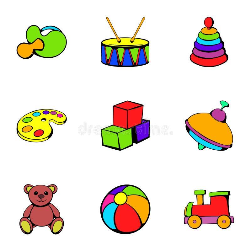 Ícones ajustados, estilo do jardim de infância dos desenhos animados ilustração do vetor