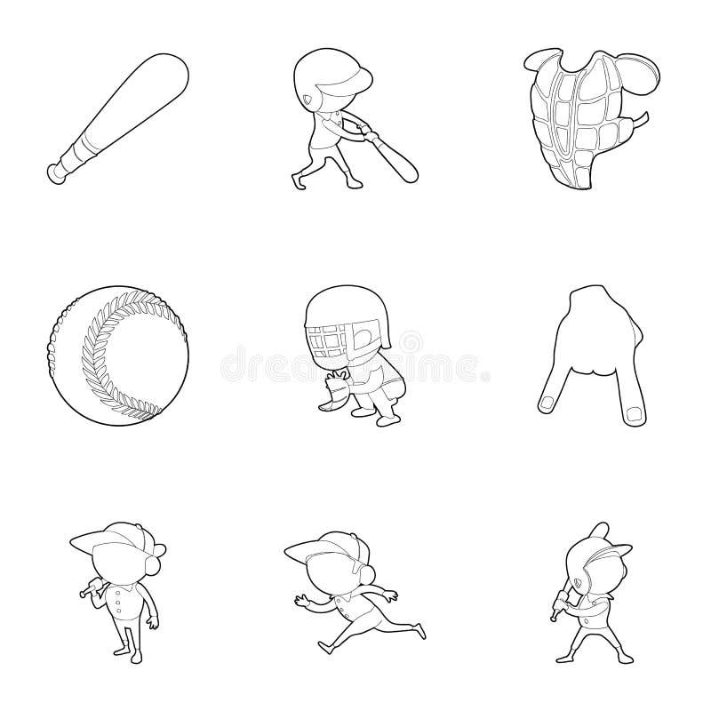 Ícones ajustados, estilo do jogador de beisebol do esboço ilustração stock