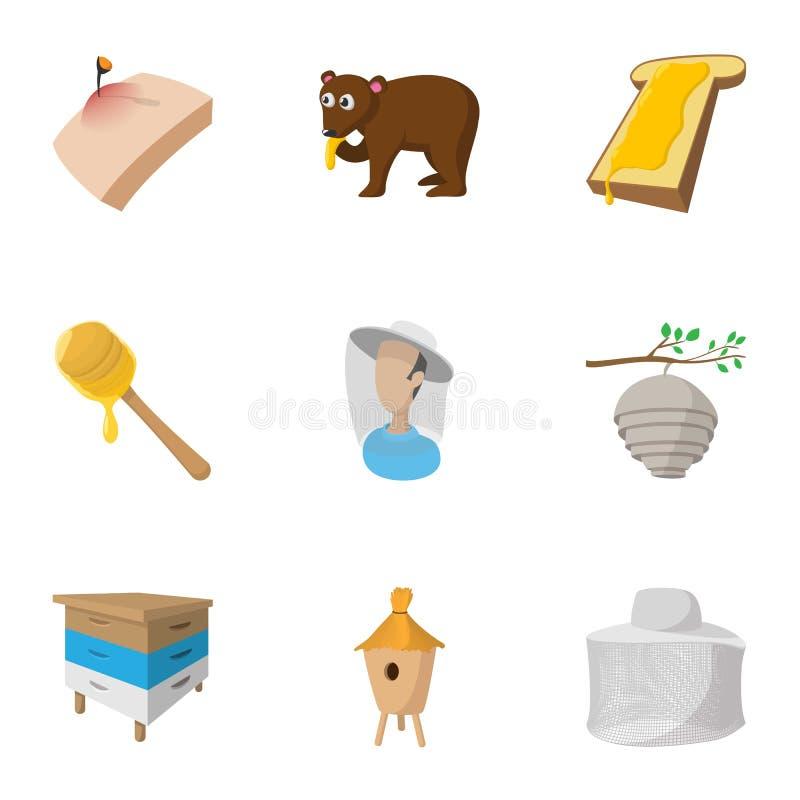 Ícones ajustados, estilo do mel dos desenhos animados ilustração stock