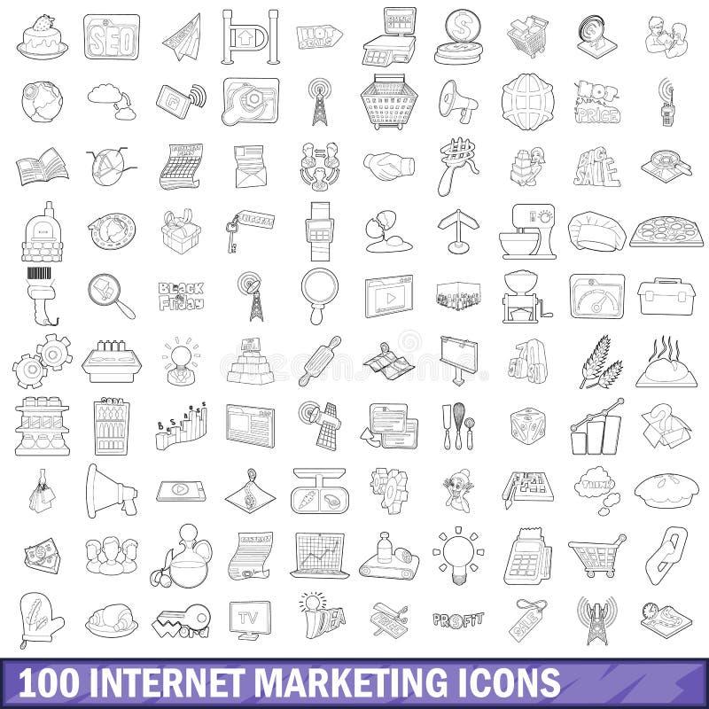 100 ícones ajustados, estilo do mercado do Internet do esboço ilustração stock