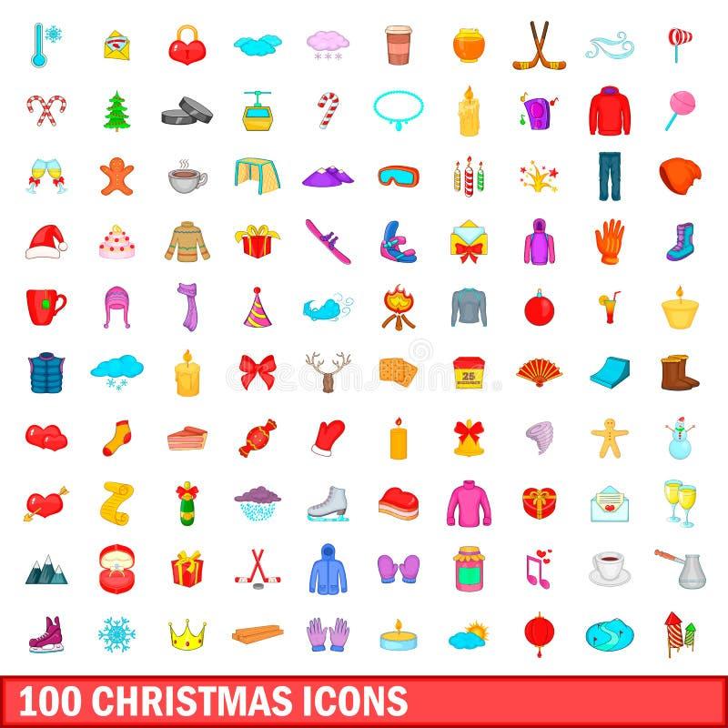 100 ícones ajustados, estilo do Natal dos desenhos animados ilustração royalty free